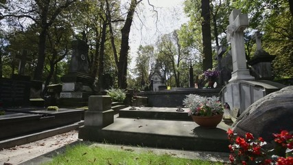Graves at old, historic Warsaw cemetery, Powazki in Warsaw