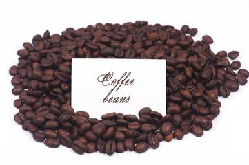 Paper card on coffee beans