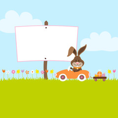 Bunny In Meadow Driving Car Easter Eggs Label