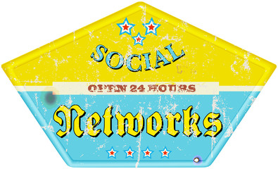 vintage social media enamel sign, grungy, vector illustration