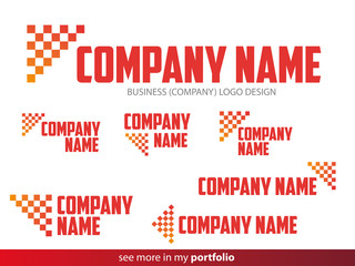 Company Chessboard Flag Logo Design,Vector