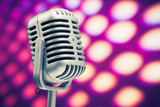 Fototapety retro microphone on purple disco background