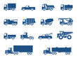 Trucks icons set. Vector silhouettes of vehicles - 48336725
