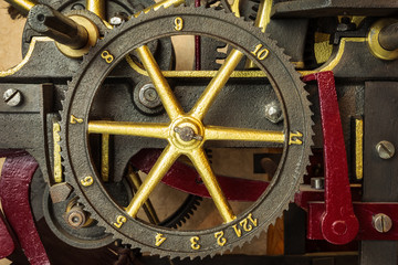 Gearwheels of a vintage church clock
