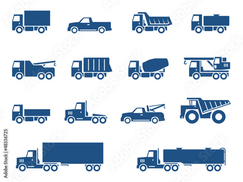 Trucks icons set. Vector silhouettes of vehicles