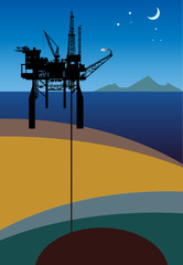 Sea Oil Rig Drilling Platform, vector
