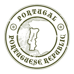 Grunge rubber stamp with the name and map of Portugal, vector