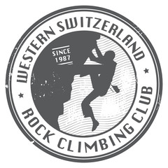 Rock climbing club stamp, vector illustration