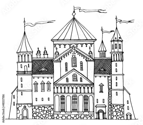Cartoon hand drawing castle - 48337186