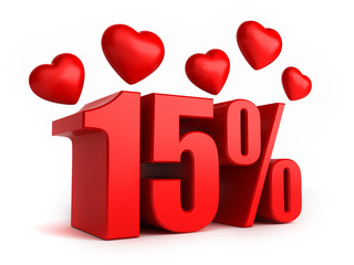 3d render of 15 percent with hearts