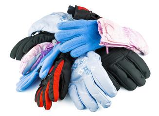Multicolored mixed ski gloves
