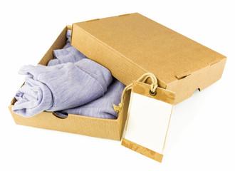 Clothes in open carton