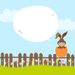 Bunny On Fence In Eggshell Speech Bubble