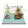 Children in camping inside a Pop-Up book. Vector illustration.