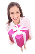 Smiling woman holding gift