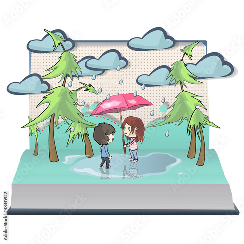 Children in the rain inside a Pop-Up book. Vector illustration.