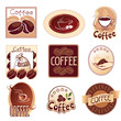 set of logos for coffee,  brown