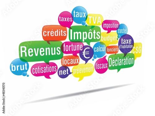 nuage de mots bulles 3d : déclaration d'impôts