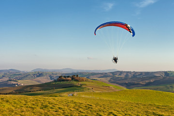 Paraglider in the countryside