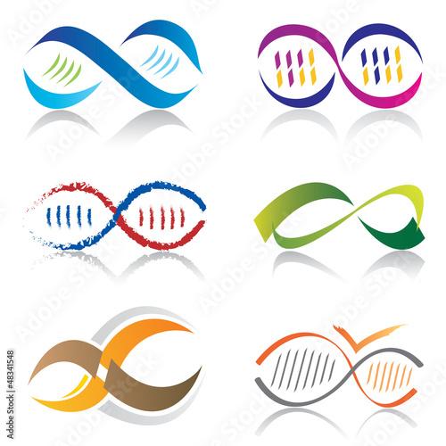 Ensemble d'Icones Symbole Infini / Icones Molécule ADN