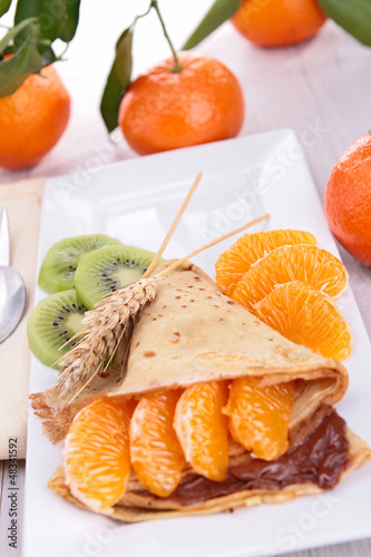 crepe with clementine and chocolate