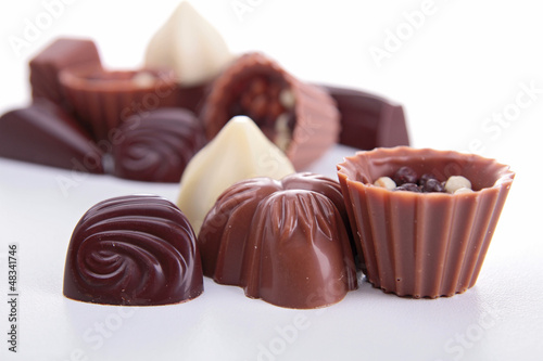 chocolates isolated on white