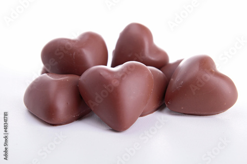 heart shape chocolate isolated on white