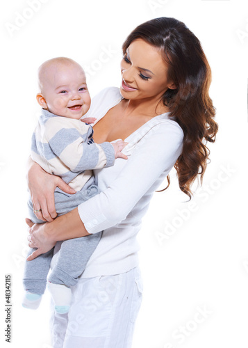 Young mother with a happy baby