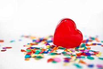 Red hearts and confetti