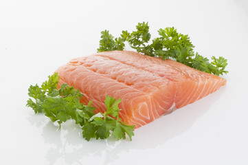 fresh and tasty piece of raw salmon