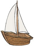 hand drawn, cartoon, vector illustration of sailboat toy