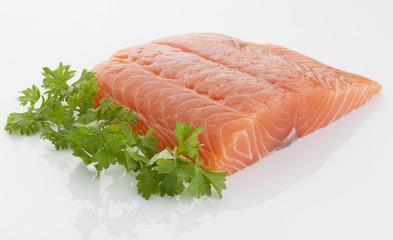 fresh and tasty piece of raw salmon