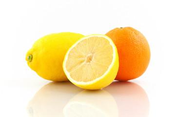 Orange and Lemon on white background