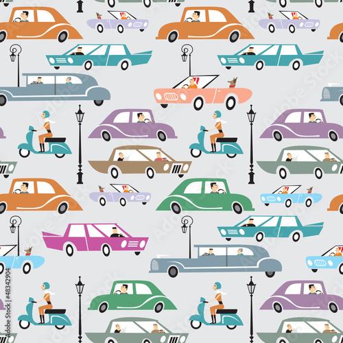 Foto op Plexiglas Op straat Traffic seamless pattern