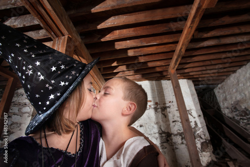 Cute Kid Wizards Kissing