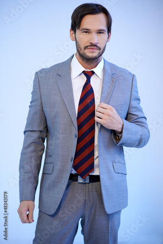Handsome businessman in a grey suit