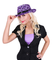 blonde young woman wearing purple leopard print hat, isolated