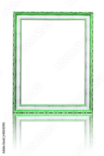 old green photo frame isolated on white