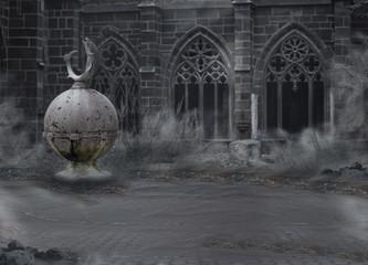 Medieval Mystic Spooky Castle - Archway. Dusk. Desolation. Mist