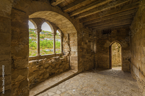 Arched windown in medieval castle