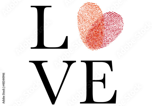 love with red fingerprint heart, vector