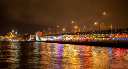 Istanbul Night in Galata Bridge (Golden Horn)