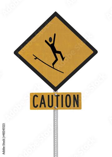 Crazy Surfer Caution Sign