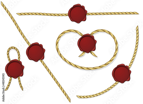 Red Sealing wax with rope collection