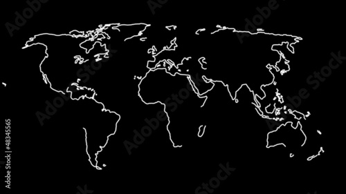 2D World map in lines
