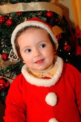 Bebé vestida de Santa Claus