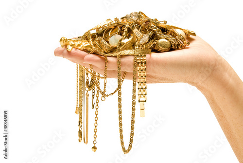 Hand Holding Beautiful gold ready to sell.