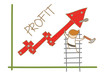 cartoon character of  man building profit up graph