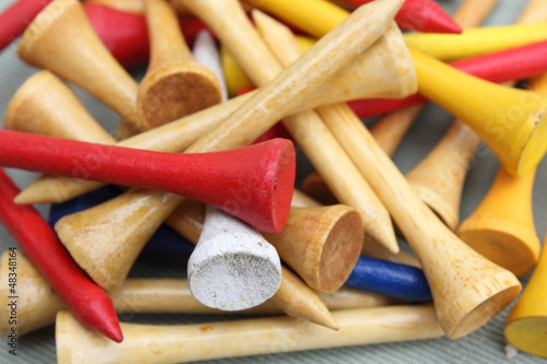 Poster Closeup of Colorful Wooden Golf Tees