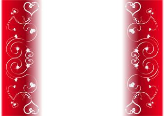 Frise coeur et diamants fond rouge - Saint Valentin
